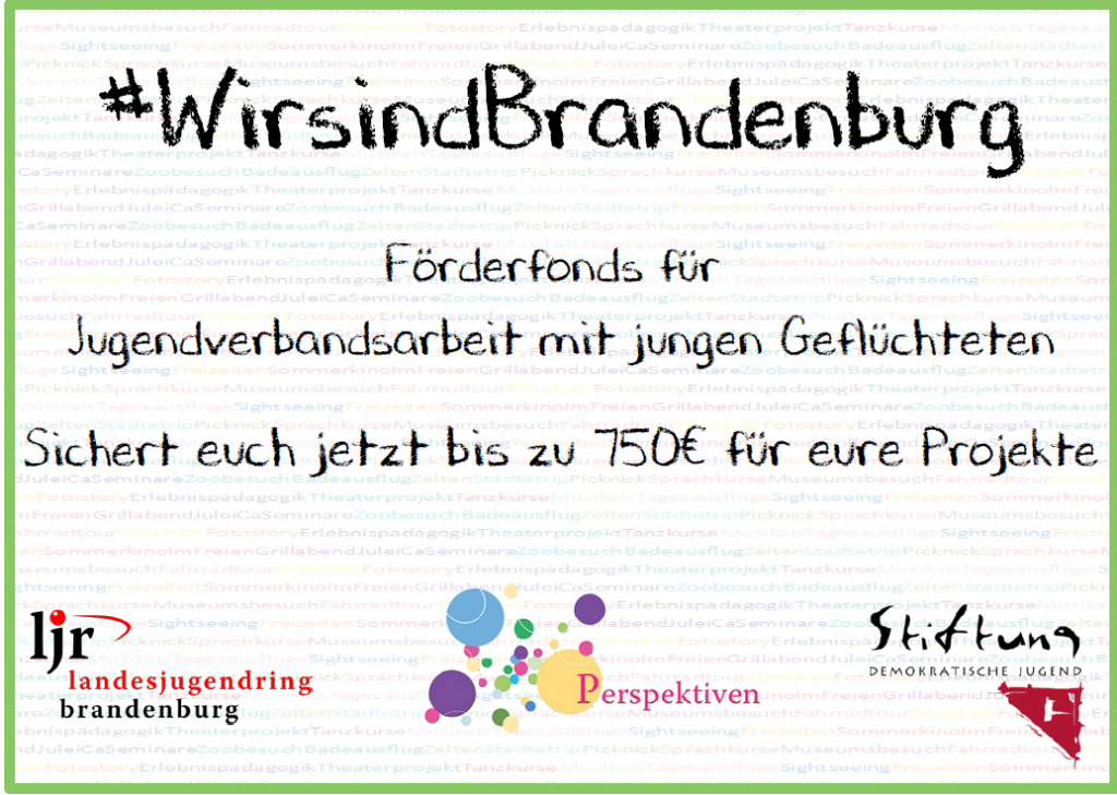 Flyer mit bunter Schrift #WirsindBrandenburg. Logos der Förder sind abgebildet.